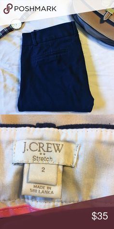 Navy J. Crew Cropped Stretch Chinos Navy Chinos with a zipper on the side to close. Cropped length, tight fit. Stretch material. Worn once, perfect condition. J. Crew Pants Ankle & Cropped