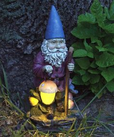 Hiking Garden Gnome (solar). Made in the USA!