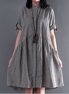 Cotton Check Half Sleeve Above Knee Casual Dresses (1051189) @ floryday.com