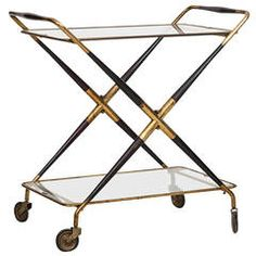 Foldable Trolley Bar Cart by Cesare Lacca