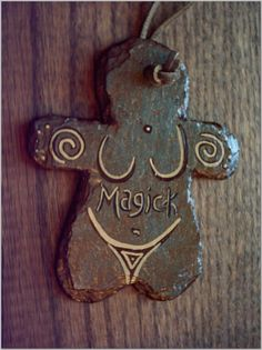 Primitive Spiral Magick Goddess Door Wall Hanger Painted Slate Stone  $13.00