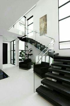luxury house design, glass banister, transparent, modern staircase … - Home & DIY Dream Home Design, Modern House Design, Modern Interior Design, Big Modern Houses, Contemporary Interior, Modern Staircase, Staircase Design, Staircase Ideas, Staircase Remodel
