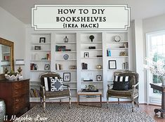 How to DIY built-in bookcases using IKEA Billy Bookshelves {Easy, step by step tutorial}.