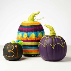 Wrap your pumpkins with colorful yarn and hold in place with Mod Podge Ultra! Create vibrant pattern, shapes, numbers, and letters with this fun project idea. Add texture and character to your Halloween pumpkins with Mod Podge.