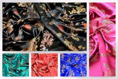 CSAT-DRAG-M Chinese Satin Dragon Brocade Dress Fabric