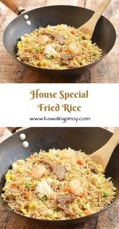 House special fried rice is a popular rice dish consisting of generous portions of shrimps beef and chicken along with the customary scrambled eggs and vegetables; learn the simple technique which turns this hearty one pot meal from good to ultra special! Rice Recipes, Asian Recipes, Chicken Recipes, Cooking Recipes, Healthy Recipes, Ethnic Recipes, Kabob Recipes, Chinese Recipes, Kitchen