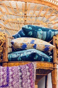 Cozy  throw pillow made from hand woven vintage kantha fabrics from India