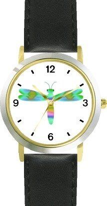 Multicolored No.3 Dragonfly or Dragon Fly - JP - WATCHBUDDY® DELUXE TWO-TONE THEME WATCH - Arabic Numbers - Black Leather Strap-Size-Children's Size-Small ( Boy's Size & Girl's Size ) WatchBuddy. Save 38 Off!. $49.95