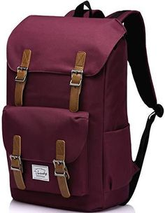 de2f24e7c8c School BackpackVaschy Water Resistant Drawstring Laptop Backpack (Burgundy)   fashion  clothing  shoes