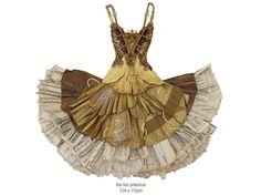another whimsical paper dress from recycled paper and other items.  A collection of these would be great as ornaments on a tree. - found at Peter Clark http://www.peterclarkcollage.com/pages/garments.html#