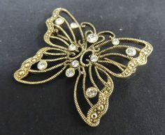 Vintage Designer Brooch Pin Rhinestone Gold Tone Butterfly Wedding Bouquet