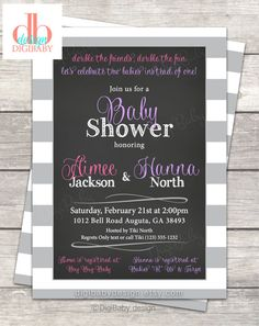 Sharing a baby shower? Custom colors girls baby shower @digibabydesign #babyshower #itsagirl #invitations