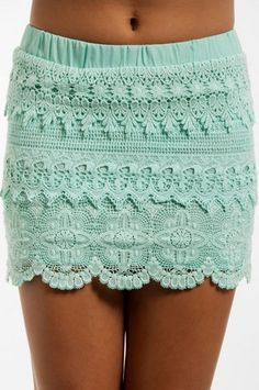 Tobi Lace Tiers Skirt - Mint. This would be cute with a white tank tucked into it(: