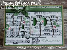 Julie Kettlewell - Stampin Up UK Independent Demonstrator - Order products 24/7: Happy Christmas Eclipse Card