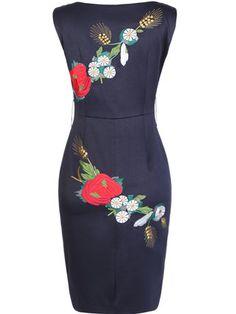 Blue Vintage Cotton-blend Sheath Mini Dress