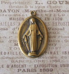 Circa 1920's Vintage Brass Miraculous Medal Of The Immaculate Conception 1830 Blessed Virgin Mary Mother Of God ~ SOLD!!!