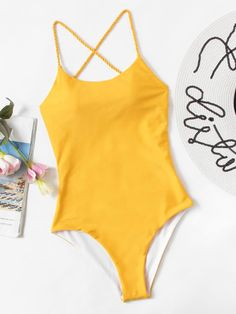 Shop Criss Cross Open Back One Piece Swim online. SheIn offers Criss Cross Open Back One Piece Swim & more to fit your fashionable needs. Backless One Piece Swimsuit, Bathing Suits One Piece, Cute Bathing Suits, One Piece Swimwear, One Piece Swimsuit For Teens, Yellow Swimsuit One Piece, Yellow Bathing Suit, Yellow One Piece, Color Yellow