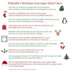 Finding presents can be a ton of fun with a festive scavenger hunt around the house. To make it easy, here are 46 printable Christmas scavenger hunt clues. Christmas Scavenger Hunt, Christmas Party Games, Christmas Activities, Christmas Printables, Christmas Traditions, Christmas Present Hunt Clues, Family Activities, Christmas Riddles, Indoor Activities
