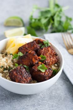 Al Pastor Tempeh. Al Pastor Tempeh with Cilantro Lime Cauliflower Rice Vegan Dinner Recipes, Vegan Dinners, Rice Recipes, Vegan Vegetarian, Vegetarian Recipes, Healthy Recipes, Vegan Foods, Tempeh Recipes Vegan, Going Vegetarian