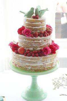 3 tier naked wedding cake. I like the way these look.
