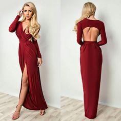 sukienka Hanah (wino) sukienka na wesele, dluga sukienka, wizytowa sukienka, elegancka sukienka