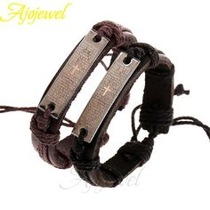 Ajojewel 2pcs/lot Man Jewellery Vintage Leather Bracelet Bangles Coupld Love Jewelry Men Pulseira De couro
