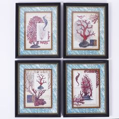 Set of Four Red Coral Prints