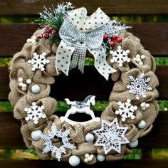 Vánoční věnec na dveře S koníkem houpacím