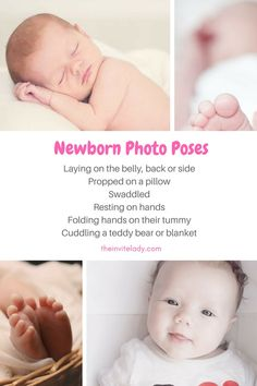 Easy DIY newborn baby photography ideas to set up your own newborn photo shoot from theinvitelady.com. All the ideas and DIY newborn photography poses you need to take at home photos of your baby for free. Includes tips: Laying on the belly, back or side. Propped on a pillow or swaddled. Hands holding up head or folding hands. Cuddling a teddy bear or blanket and more. Get the full guide on Easy DIY Newborn Baby Photography Ideas at theinvitelady.com