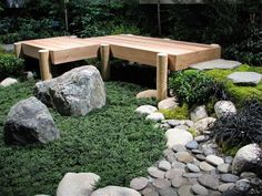 Great small Japanese garden! Good use of Mondo Grass and stone. Seen at NW Flower Garden Show 2011. Photo by Taryn Koerker