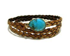 Summer Waves -- braided leather wrap bracelet $40