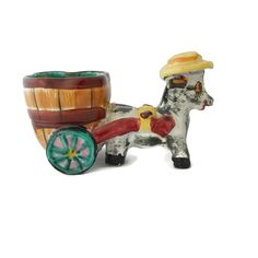 Dominick the Italian Donkey Planter Majolica Ceramic Pottery Handpainted Signed by EclecticVintager on Etsy