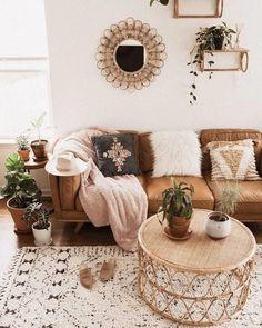 Timber Charme Tan Sofa - Home Professional Decoration Boho Living Room, Living Room Interior, Bohemian Living, Bohemian Homes, Cozy Living, Modern Bohemian, Tan Sofa Living Room Ideas, Bohemian Design, Bohemian Apartment