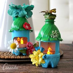 Turn empty plastic water bottles into adorable little fairy house night lights! Fun for a child's room or a nursery, or even the garden.