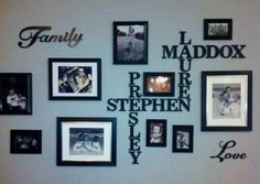 Not so spaced but over the couch gallery wall...doing names as scrabble letters