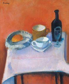 Berény Róbert (1887-1953)  Reggelizőasztal  Olaj, vászon, 79,5x67,5 cm