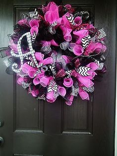 "LARGE BIRTHDAY GIRL BABY DECO MESH WREATH PINK BLACK 26""-28"" WIDE SO CUTE!"