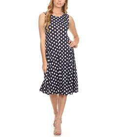 Another great find on #zulily! Blue & White Polka Dot Midi Dress - Plus Too #zulilyfinds
