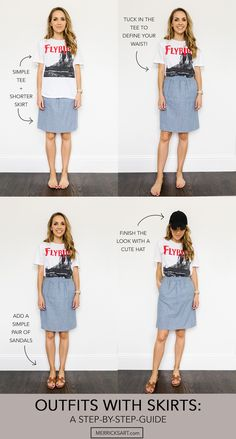 Summer outfits with skirts: a step by step guide Basic Outfits, Modest Outfits, Modest Fashion, Summer Outfits, Casual Outfits, Fashion Outfits, Girl Outfits, Fashion Hacks, Emo Fashion