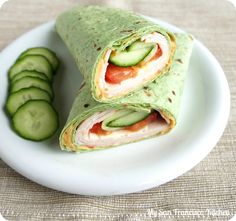 Healthy Turkey Hummus Spinach Wrap. I would sub avocado for the cucumber.