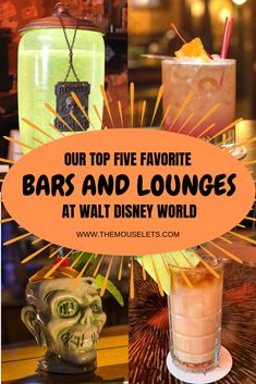 We've compiled a list of our top six favorite bars and lounges at Walt Disney World resort! And, we each bar comes with a recommended drink that we've tried before! disney wedding Best Bars at Walt Disney World Disney World Vacation Planning, Disney World Hotels, Disney World Food, Disney World Parks, Walt Disney World Vacations, Disney Planning, Disney Worlds, Disney Travel, Vacation Planner