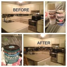 Refinishing Laminate Countertops: Clean Countertops With A Degreaser, Krud  Kutter Lightly Sand Countertops 2 Coats Of Glidden Gripper Primer With  Roller ...