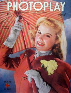 """June Allyson on the front cover of """"Photoplay"""" magazine, April 1945."""
