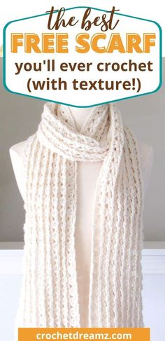One Skein Crochet, Crochet Scarf Easy, Quick Crochet, Crochet Scarves, Crochet Clothes, Crochet Scarf Tutorial, Easy Things To Crochet, Diy Crochet Gifts, Crocheted Scarf