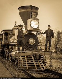 Northern Central Railway, ca 1865. A Northern Central engine crew pose with their locomotive at New Freedom, PA, just a few miles north of the Mason-Dixon Line, shortly after the Confederate surrender at Appomattox. Steam Into History engine men Steve Meola (left) and Alex Horneman (right) went the extra mile to look the part for this 2014 Carl Franz Charter at America's newest tourist railroad.