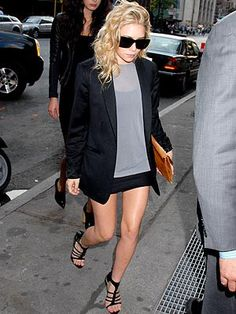 Boyfriend jacket with short skirt ----WHY ARE THE OLSEN TWINS HAIR ALWAYS AMAZINGLY MESSY YET NOT HOMELESS LOOKING LIKE MINE DOES WHEN I TRY THIS. AWARE OF THE MANY GRAMMATICAL ERRORS IN THAT SCENTENCE...
