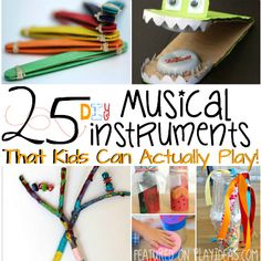 DIY Music Instruments Kids can play Instrument Craft, Homemade Musical Instruments, Making Musical Instruments, Preschool Music, Music Activities, Teaching Music, Summer Activities, Toddler Activities, Projects For Kids
