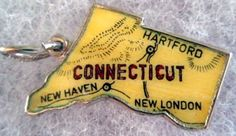 Connecticut + Hartford + New Haven + New London [state map charm / pendant]