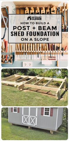 How to Build a Post & Beam Shed Foundation on a Slope – One Project Closer - Gartenhaus diy Concrete Sheds, Firewood Shed, Firewood Storage, Shed Construction, Sloped Yard, Build Your Own Shed, Backyard Sheds, Backyard Office, Backyard Storage