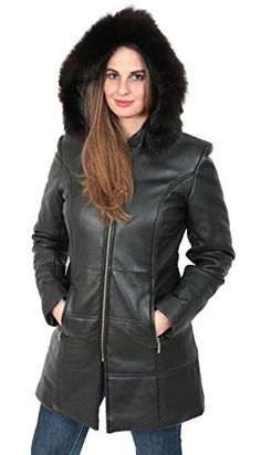 'Keep the cold out' with this luxurious womens 3/4 length coat, unique style fully padded fitted tailored cut, made with a super soft lamb nappa leather & high quality handmade workmanship, It features a detachable hoodie with a faux fur trim, front zip fastening and two front...  More details at https://jackets-lovers.bestselleroutlets.com/ladies-coats-jackets-vests/leather-faux-leather-ladies-coats-jackets-vests/product-review-for-womens-quilted-parka-leathe